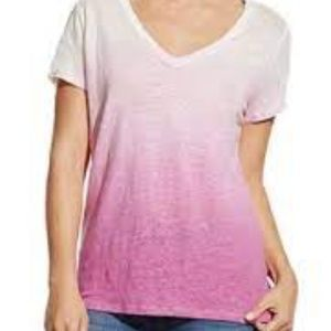 Two by Vince Camuto Ombre 100% Linen T-shirt
